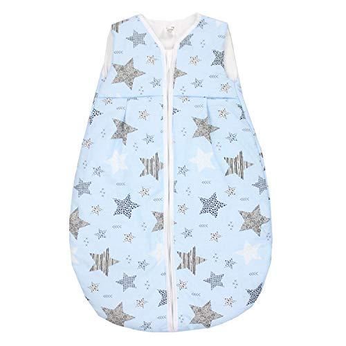 TupTam Baby Ganzjahres Schlafsack ohne Ärmel Wattiert, Farbe: Sterne Schwarz/Blau, Größe: 80-86