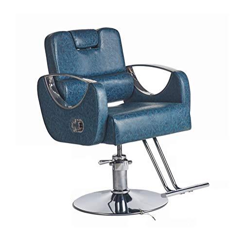 HLR Sedie da Barbiere Poltrona da Parrucchiere Salone di Bellezza Barber Chair Reclining Professionali for Parrucchieri sedie in Pelle Moderna Sedia Girevole (Color : Blue)