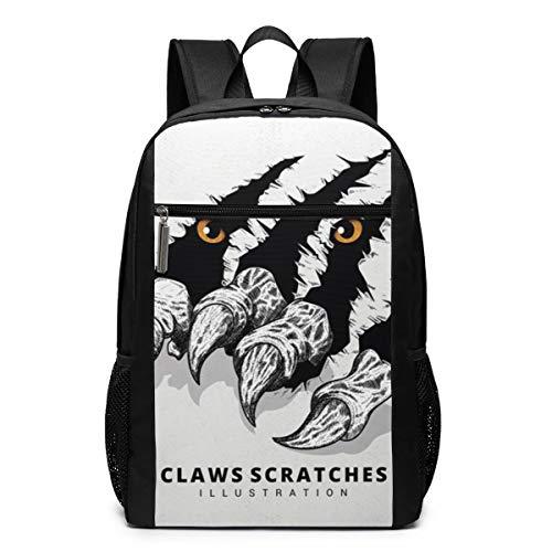 GgDupp Tiger-Claw-Scratches Schulranzen Reiserucksack 17 Zoll Laptop Tasche, Polyester, Schwarz, Einheitsgröße