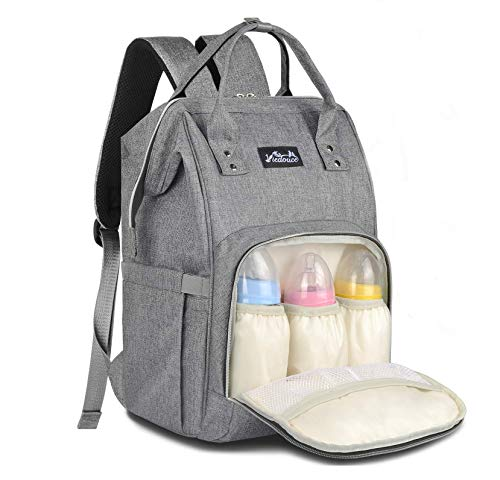 Viedouce Backpack Diaper Bag for Dad with Stroller Straps Baby Changing Pad, Gray