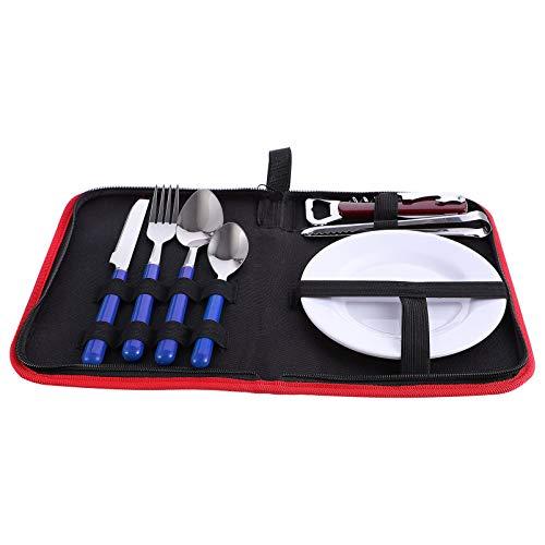 YARNOW Camping Silverware Kit Cutlery Organizer Utensil Picnic Set Dinnerware Set with Plates Forks Spoons Knives Bottle Opener Blue