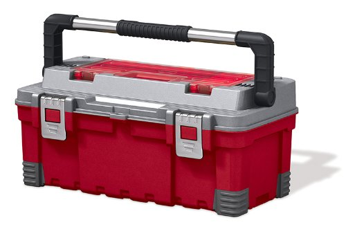 Keter 17181009 Werkzeugbox Master Pro Serie Tool Box 22 Zoll metal latch, Kunststoff, rot/silber
