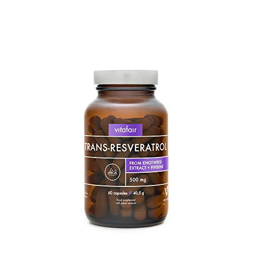 VITAFAIR Pure Trans-Resveratrol - 500mg at 98% Purity + 5mg Piperine - 60 Caps (2 Months) Vegan, No Additives, High Absorption, Lab-Tested, German Quality - Natural Herbal Antioxidant Supplement
