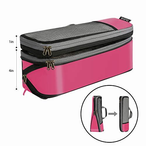 Amazon Brand - Eono Komprimierbaren Packwürfeln zur Organisation Ihres Reisegepäcks, Compression Packing Cube, Packtaschen Set & Gepäck Organizer für Rucksack & Koffer - Fuchsie, 6-teilig