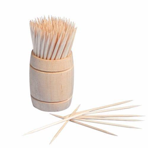 200 Zahnstocher, Holz rund 6,8 cm im Spender aus Holz PS12734