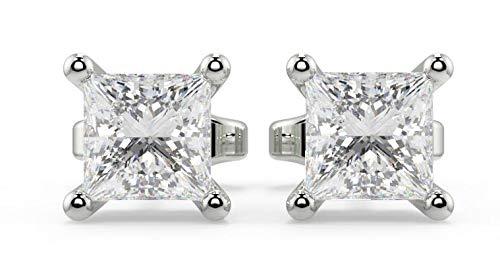 Pendientes de diamante UK – Pendientes de corte princesa para mujer oro blanco