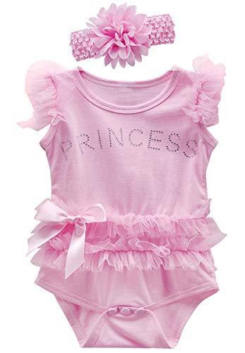 MOMBEBE COSLAND Body Princesa Sin Mangas Bebé-Niña de Algodón Encaje (Rosa, 12-18 Meses)