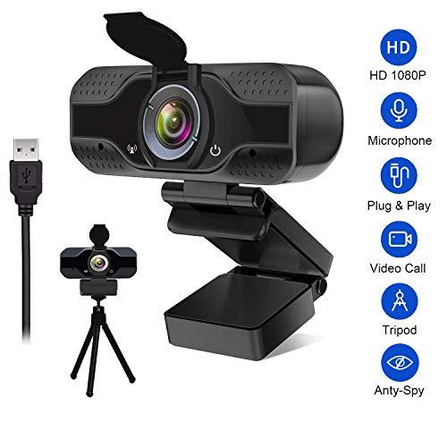 Drenky Webcam 1080P HD mit Mikrofon USB Webcam für Laptop oder Desktop Live-Streaming-Webcam mit erweiterter 110-Grad-Ansicht für Videoanrufe Kommen Sie mit Webcam Stativ und Privatsphäre Abdeckung