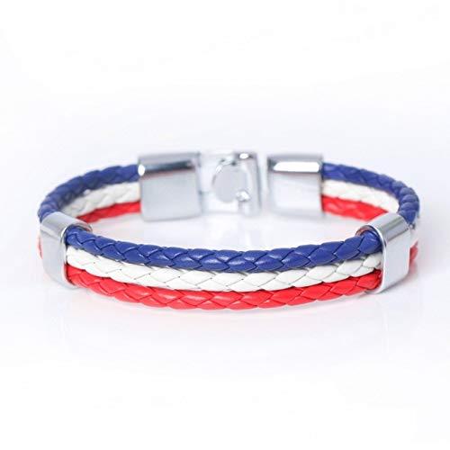 GMZPP Fashion Touw Surfer Lederen Armbanden Voor Mannen Vrouwen Casual Multilayer Bandage Bedel Vriendschap Armbanden Frankrijk Vlag