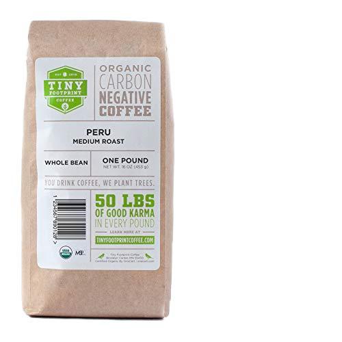 Tiny Footprint Coffee - Fair Trade Organic Peru APU Medium Roast - Whole Bean Coffee, USDA Organic & Carbon Negative - You Drink Coffee, We Plant Trees, 16 Ounce