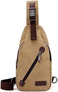 DIEBELLAU Canvas Men's Bag Headphones Hole Outdoor Fashion Sports Casual Shoulder Bag Men's Messenger Bag (Color : Khaki)
