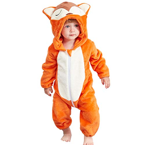 MICHLEY Newborn Baby Winter Hooded Romper Flannel Infant Jumpsuit Outfit, Fox, 2-5months, Size 70