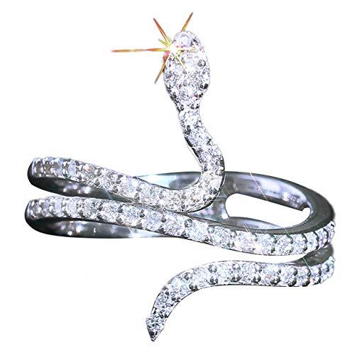 DBSUFV Anillo de Serpiente Flash Diamante y circón microincrustado Personalidad de Mujer Anillo Creativo Joyería Elegante Intelectual