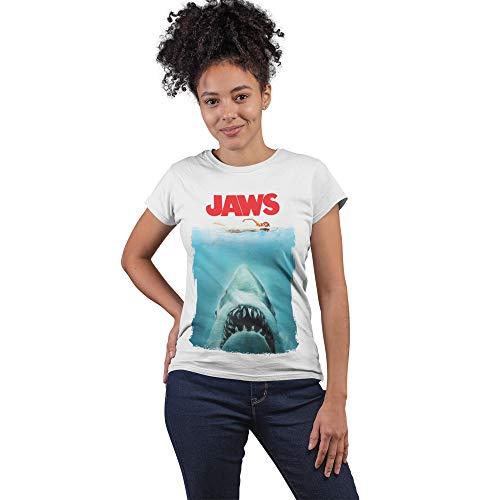 Camiseta Jaws El tiburón Poster Mujer - Movies Cult - Camiseta de Manga Corta 100% Algodón Orgánico