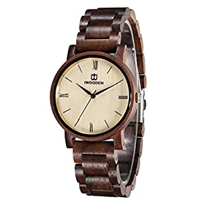Wood Watch for Men Quartz Mens Watch Engraved Wooden Personlized Wrist Watch Christmas Gifts with Watch Case for Men