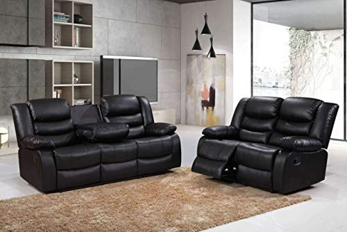 Roma Leather Recliner Sofa 3+2 in Grey/Black/Brown (3+2 Seater Set, Black)
