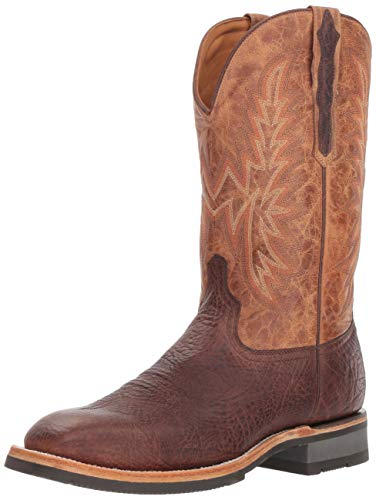 Lucchese Bootmaker Mens Rudy Embroidery Square Toe Boots Mid Calf - Brown - Size 10 D