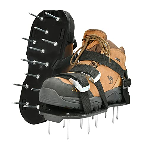 Zapatos Aireadores Cesped, Aireador de Cesped Zapatos con Correas Ajustables y Hebillas de Metal, Escarificador Cesped Manual, Zapatos Aerador de Cesped para Césped, Jardín, Jardinería (negro)