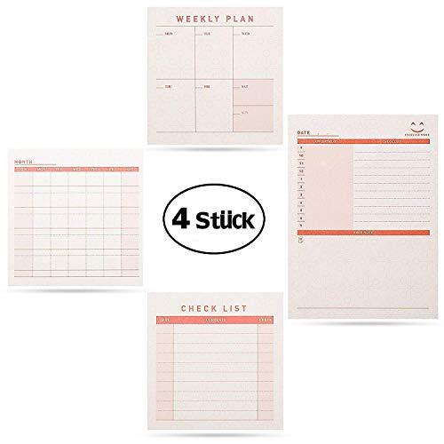 Blocco per Appunti, gvoo Personal Organizer personale Organizer 4pezzi praticamente di Giorno della settimana mese di Planer Check List in carta