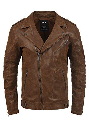 !Solid Mash Herren Lederjacke Bikerjacke Echtleder mit Reverskragen, Größe:L, Farbe:Cognac (5048)