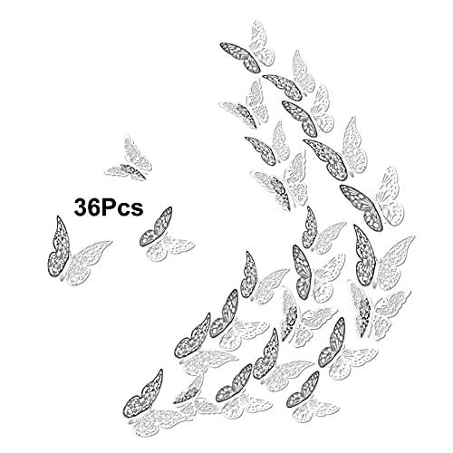 Luxbon 36pcs 3D Adesivo da Parete Farfalla 3 Stili e 3 Dimensioni Decorazione da Parete Farfalla per Decorazioni per Matrimoni Festa Camera da Letto Casa (argento)