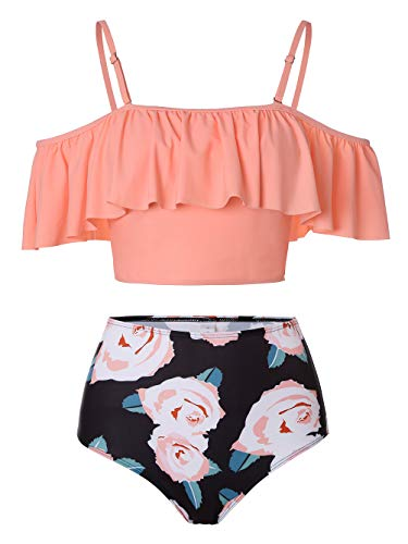 Kaei&Shi Strapless,Strappy Swimwear,Floral High Waisted Flounce Bikini Set,Tummy Control Swimsuits for Women,Off Shoulder Bathing Suit Coral X-Large