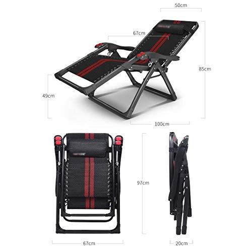 Cxmm Büro Lazy Liegestuhl Mittagspause Nickerchen Bett Freizeitstuhl Klappbarer Garten Lounge Stuhl Strandkorb Tragbare Sonnenliege Schwarz Lager Gewicht 100kg (Farbe: Roter Streifen)