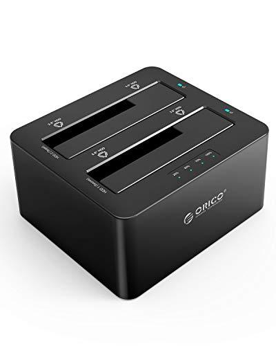 ORICO 2-bay Docking Station USB 3.0 Hard Drive Esterno Dual bay per 2.5 o 3.5 Pollici, SSD con HDD Duplicatore/Clone Funzione Non in Linea Clone Funzi
