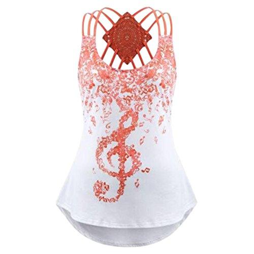 MRULIC Damen T-Shirt Armelloses Top Frauen Verstellbare Schultergurte Runden Hals Leibchen Crop Top(G-Orange,EU-44/CN-2XL