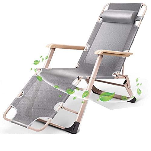 YVX Tumbona, Silla de Camping y de Patio Silla de Gravedad Cero Silla Plegable reclinable para Exteriores Sillas de salón Plegables con césped-10