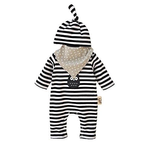 Vine Trading Co.,Ltd Vine Neugeborenes Baby 3 Pcs Strampler Spielanzug Baumwolle Langarm Baby Outfits Unisex Kleinkinder Streifen Jumpsuits mit Hut & Geifer-Lätzchen schwarz