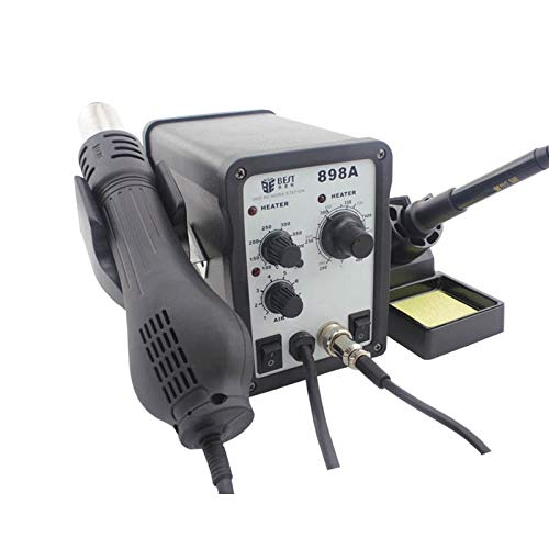 Hand Tools, Best BST-898A 2 in 1 AC 220V 700W Helical Wind Adjustable Temperature Unleaded Hot Air Gun + Solder Station & Soldering Iron, EU Plug (Color : S-etp-0248b)