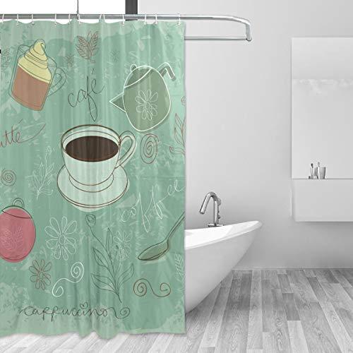 DEZIRO Coffee Cappuccino Muster Polyester Duschvorhang Wasserdicht Frei von PVC Chlor & chemischen Geruch ungiftig 152,4 x 182,9 cm