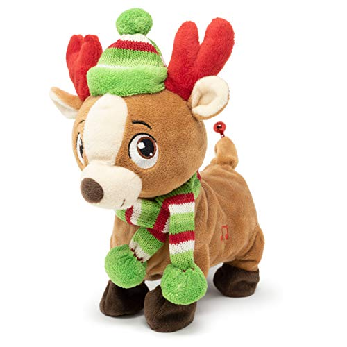 Cuddle Barn | Tooty Rudy 10' Reindeer Animated Stuffed Animal Plush Toy for Christmas | Xmas Reindeer Walks, Shakes Tail, and Makes Farting Sounds | Plays We Wish You a Smelly Christmas