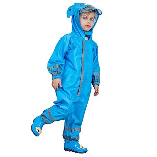One Piece Rain Suit Kids,Unisex Toddler Waterproof Rainsuit Rain Coat Coverall (S, Blue Koala)