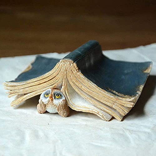 Sculpture Statue,Cute Owls Animal Figurines Resin Miniatures Craft Home Fairy Garden Decoration Thinkingowl+8Cm
