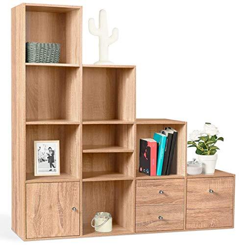 IDMarket - Meuble de Rangement en escalier Liam 4 Niveaux Bois façon hêtre avec Porte et tiroirs
