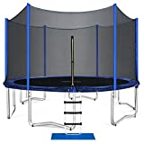 ORCC Trampoline 15 14 12 10ft Outdoor Trampoline Weight Capacity 400LBS for Kids Adults with Safety Enclosure Net Wind Stakes Rain Cover and T-Hook, Backyard Trampoline for Family