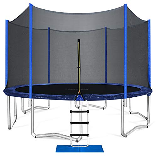 ORCC Trampoline 15 14 12 10ft Outdoor Trampoline Weight Capacity 400LBS for Kids Adults with Safety Enclosure Net Wind Stakes Rain Cover and T-Hook, Backyard Trampoline for Family (15ft)