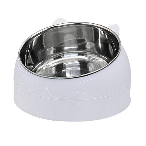 Hawiton Stainless Steel Dog Cat Bowl, Round Ergonomic Slanted Non-Slip Pet Bowl for Dog Puppy Cat and Kitten Tilted Angle Food Water Bowl Pet Feeder for Small/Medium/Large Dogs