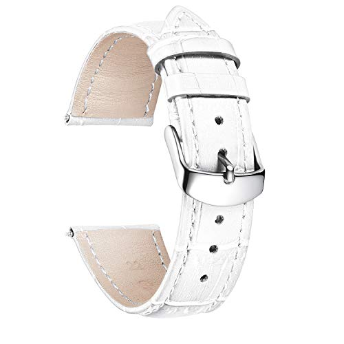 BINLUN Leder Uhrenarmband Krokodilmuster Schnellverschluss Ersatz Kalbsleder Uhrenarmbänder 10 Farben 13 Größen mit Silber/Rose/Roségold Schnalle für Herren & Damen (12mm-24mm)