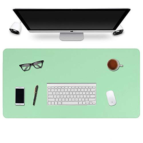 Alfombrilla de ratón de Oficina de Cuero de PU de Doble Cara, Protector Antideslizante Impermeable Almohadilla de Escritura de Costura de Actualización 2020-900 * 400 * 2 mm(Verde Menta + Azul Ciel)