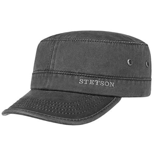 Stetson Datto Armycap Herren - Wasserabweisende Baumwollkappe - Sommer/Winter - Armymütze mit Sonnenschutz UV 40+ - Verwaschene Lederoptik (Oilskin) - Urbancap schwarz L (58-59 cm)