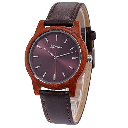 Holzuhr Damen, shifenmei S5551 Ultradünne Holzuhr Leder Unisex Minimalistisch Holzuhren Holz Armbanduhr Quarz Uhren inkl.