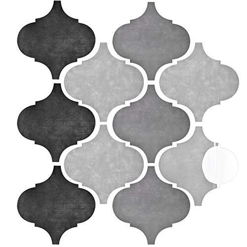 Irich Wasserdicht Selbstklebende Fliesenaufkleber, Wandfliesen Klebefolie Fliesen Aufkleber, Wasserdicht PVC für Küchen WC Badfliesen Bad Fußboden (10 Stück 25 * 25cm/ 9,8 * 9,8inch)