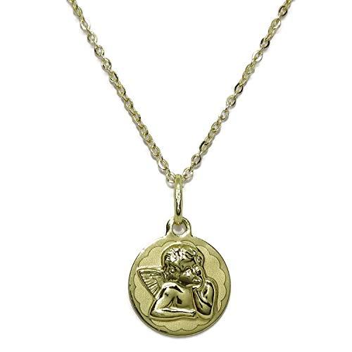 Never Say Never Medalla para bebé con Angelito de 14mm y Cadena Forzada picada de 40cm Todo Oro 18k. Peso, 1.75gr de Oro de 18k