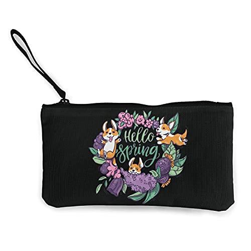 Hello Spring (Cani) Portamonete in tela, portamonete con cerniera, portapenne/portaoggetti