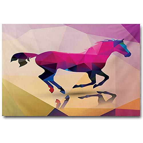 jiyanling Geometric Bedroom Poster Shaded Geometric Abstract Horse Animal Pattern Indie Novelty Symbol Print Easter Gifts for Teenage Boys Cream Pink Purple L36 x H24 Inch