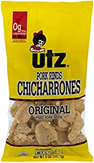 Utz Pork Rinds, Original Flavor - Keto Friendly Snack with Zero Carbs per Serving, Light and Airy Chicharrones with the Perfect Amount of Salt, 5 Ounce (Pack of 12)