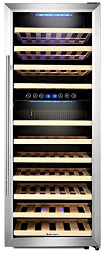 Kalamera Weinkühlschrank 2 Zonen für 73 Flaschen (bis zu 310 mm Höhe),200 Liter,Zwei Temperaturzonen 5-10°C/10-18°C,LED Display, Edelstahl Glastür,KRC-73BSS